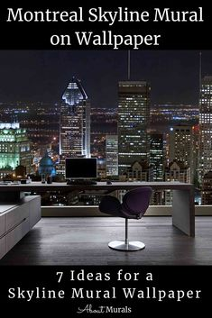 This skyline mural celebrates the chic city of Montreal and features high rise buildings contrasted by the black night sky. The cityscape wall mural is perfect for getting you motivated at the office and since it's printed on removable wallpaper, how can your boss say no? Click to see all 7 cityscape murals perfect for wallpaper diy. Cityscape Wallpaper, Diy Wallpaper, Of Montreal, High Rise Building, Room Themes, Night Skies, Wall Murals, Buildings, Boss