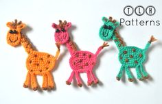 This listing is for PDF PATTERN only and not the finished product. Giraffe applique - Pattern No. 68 The pattern for these adorable giraffes is easy to create by anyone with a knowledge of basic crochet stitches. The giraffe measures approximately 5.5 inches high and 4.5 inches wide. I used fingering weight yarn and size C/2.5 mm crochet hook. The pattern is written using standard American terminology. The instruction includes plenty of photos to guide you. After your payment is confir...