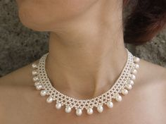 "woven pearl necklace ""open lase"" with pearl drops, by Marina J"