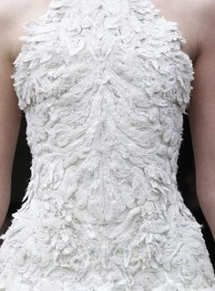 White on White - soft, sumptuous textures; beautiful couture gown closeup; fashion details // Alexander McQueen