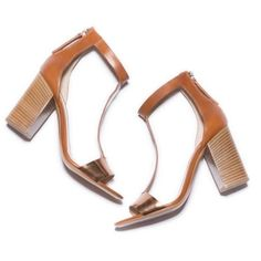 """[M. Gemi]the girasole Simplicity + understated luxury is unequivocally chic + I love that I found it in this caramel colored sandal. The factory where they made this design is known for its use of natural, hand-burnished leathers. I fell for the little bit of sex appeal in the strap and the copper on the toe strap. Details: stacked heel, 3.75"""" leather upper, open toe, leather lining + sole, padded Insole, palladium zipper, leather toe strap + made In Italy. Show signs of wear. No PayPal + No…"""