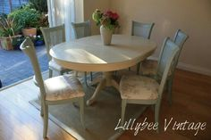 Annie Sloan Chalk Paint - Duck Egg Blue and Old Ochre painted table and chairs by Lillybee Vintage