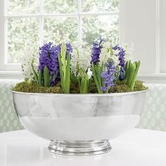 Hyacinths In Bloom | Cruise the aisles of your favorite garden center to find a variety of bulbs forced and ready to display. Blooming weeks before their in-ground counterparts, these much-anticipated blossoms lift our spirits and brighten our homes. To get the look shown here, protect a holiday punch bowl with a plastic container, then pack in a dozen hyacinths preplanted in soil. Lightly water, and top with moss.