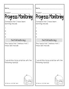 Literacy & Math Ideas: Free Student Self Monitoring Forms