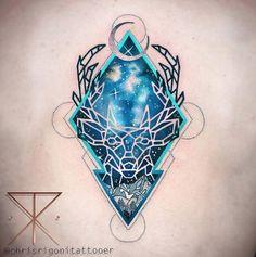 Geometric stag tattoo by Chris Rigoni