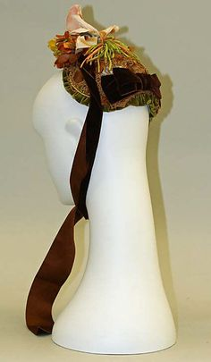 Bonnet 1881, American, Made of silk and straw