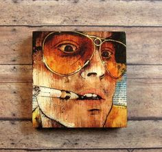 Keep your eyes peeled This finished block print measures 5 x 5 and is thick with a resin ultragloss finish on the surface. Our process for Fear And Loathing, Indie Art, Cinema Room, Black Acrylics, Local Artists, Wood Print, Resin, Surface, It Is Finished