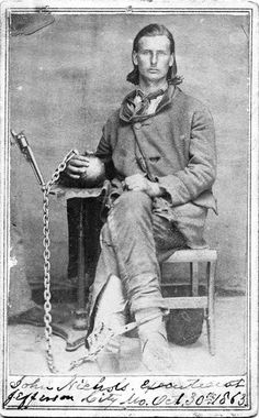 John Nichols prior to his execution in Jefferson City Missouri October 30 The charge: Being a Confederate guerrilla and bushwhacker. American Civil War, American History, Confederate States Of America, Us History, Ancient History, Civil War Photos, Le Far West, Interesting History, Guerrilla