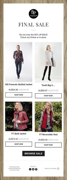 Do not miss the off SALE! Check out Online or in-store. 50 Off Sale, Quilted Jacket, Final Sale, Shop Now, Jackets, Shopping, Down Jackets, Padded Jacket, Jacket