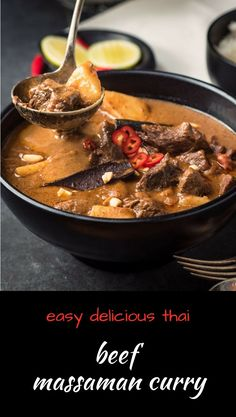 Beef massaman curry is a mild, balanced Thai curry that's long on flavour. A little bit sweet. A little bit sour.This isn't red curry or green curry. It's not your usual Thai curry. But it's delicious. Really satisfying. Think Thai beef stew Thai Recipes, Indian Food Recipes, Asian Recipes, Beef Recipes, Cooking Recipes, Indian Foods, Recipies, Dinner Recipes, Beef Massaman Curry