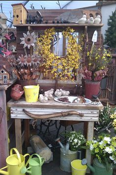 Potting Bench Plans, Potting Benches, Potting Sheds, Garden Cart, Garden Table, Container Plants, Container Gardening, Gardening Tips, Outdoor Art