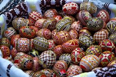 Traditional hand painted Easter eggs from Bucovina, Romania.