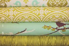 True Colors and Aviary2 by Joel Dewberry Fabric / Half Yard Bundle / Gray  / Aviary 2  / True Colors - Cotton Quilt Apparel Fabric