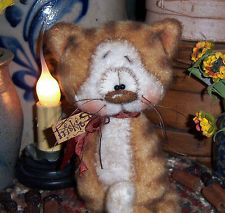 Primitive Fuzzy Tiger 6 Kitten Tabby Cat Bear Doll ★ Vtg Pattis Ratties Ornie