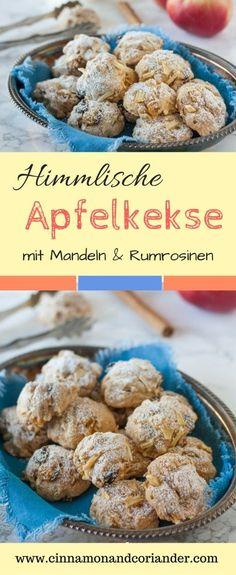 Himmlische Apfelkekse mit Mandeln und Rumrosinen | Meine Apfelkekse sind schnell gemacht, außen knusprig und innen herrlich buttrig und weich, wie kleine Mini Apfelkuchen | cinnamonandcoriander.com #apfelkekse, #apfelrezepte, #plätzchen, #rumrosinen, #apfelkuchenkekse, #cinnamonandcoriander, #keksrezepte, #omasapfelkuchen,