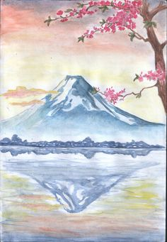 fuji mt drawing japan japanese drawings google painting water watercolor paint paintings awesome projects