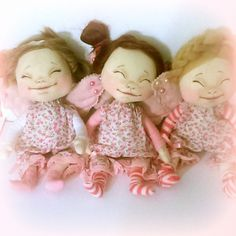 Can you hear those tiny angels giggling? Ooak Dolls, Art Dolls, Handmade Dolls, Doll Clothes, Angels, Felt, Textiles, Hand Painted, Christmas Ornaments