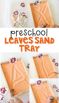 This fall leaves sand tray is fun for letter writing and fine motor practice with a fall theme. Great for tot school, preschool, or even kindergarten! Fall Preschool Activities, Preschool Learning, Classroom Activities, Preschool Crafts, Fun Learning, Teaching, Toddler Activities, Vocabulary Activities, Preschool Kindergarten