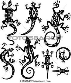 Decorative lizards View Large Clip Art Graphic