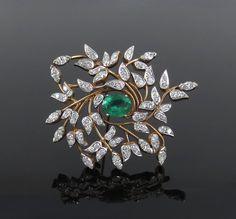 Vintage 3.50ct Diamond & 4.0ct Colombian Emerald Platinum & 14K Gold Brooch