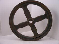 Industrial Old Pulley Wheel gear Cast Iron Machine Decor VTG Steampunk | eBay