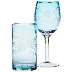 pier one etched blue glasses | Found on pier1.com I have these and they are the prettiest!!!