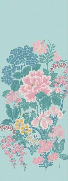 Japanese Tenugui Towel Fabric, Hand Dyed Fabric, Botanical Fabric, Floral Design, Emerald Blue Fabric, Cotton 100%, Wall Art Hanging, JapanLovelyCrafts