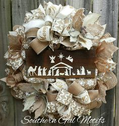 """""""Our Savior is Born"""" Christmas wreath! Check out this item in my Etsy shop https://www.etsy.com/listing/477282054/nativity-christmas-wreath-christmas"""