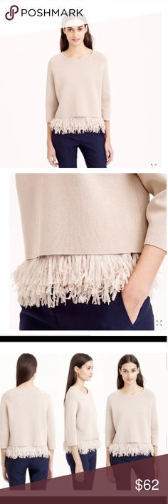 """J.Crew Collection Chiffon Fringe Sweater, S NWOT! Gorgeous J. Crew Collection, Chiffon Fringe Sweater, size Small. Retails $228  Ready, set, shimmy. Finished with a panel of swishy, laser-cut chiffon fringe (it's attached to a camisole-like layer that slips beneath the cotton outer layer), this sweater is the definition of fun and flirty. So that party you have coming up (the one you have """"nothing"""" to wear to)? Yeah, go ahead and send your RSVP.  Cotton. Three-quarter sleeves. Dry clean…"""