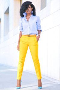 Outfit Details: Shirt: J. Stylish Mom Outfits, Casual Work Outfits, Work Attire, Stylish Outfits, Ankle Pants Outfit, Yellow Pants Outfit, Ankle Length Pants, Work Fashion, Fashion Pants