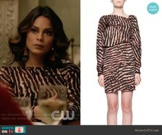 Cristal's zebra print dress on Dynasty.  Outfit Details: https://wornontv.net/81029/ #Dynasty