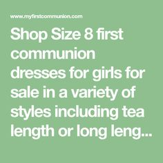 Shop Size 8 first communion dresses for girls for sale in a variety of styles including tea length or long length in cotton or satin . Designer girls first communion dresses in size 8 feature pearl beading, lace trim and other styles Girls First Communion Dresses, Holy Communion Dresses, First Holy Communion, Lace Bodice, Lace Sleeves, Dresses For Sale, Girls Dresses, Draped Skirt, Illusion Neckline