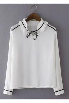 White Ruffle Colla Long Sleeve Blouse