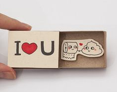 "Poop Love Card/ Funny Anniversary Card / Poo Card / Cute Anniversary Card / Humor Love Card/ Matchbox/ ""I love you"" - Poo Toilet Paper"