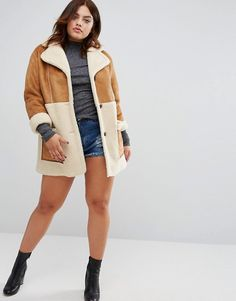 Alice & You   Alice & You Oversized Faux Shearling Panel Coat With Zip Detail