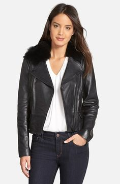 Classiques Entier® 'Brenna' Leather Jacket with Detachable Genuine Toscana Shearling Collar (Regular & Petite) available at #Nordstrom