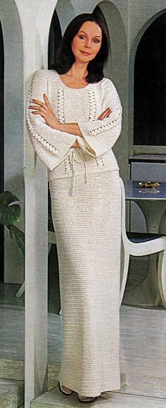 Vintage crochet pattern tunic and maxi skirt
