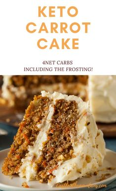 low carb yum Scrumptious Keto Carrot Cake ~ 4 Net Carbs Including the Frosting. This amazing layered cake is a satisfying dessert without all of the carbs. Low Carb Sweets, Low Carb Desserts, Healthy Desserts, Easy Desserts, Low Carb Recipes, Dessert Recipes, Dinner Recipes, Keto Desert Recipes, Healthy Recipes