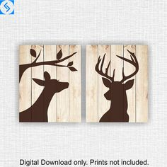 Doe head and Deer head Silhouette on Wooden boards, Printable wall art set of Wall Art Sets, Wall Art Decor, Deer Head Silhouette, Deer Decor, Deer Art, Creation Deco, Bathroom Wall Art, Pallet Art, Wood Art