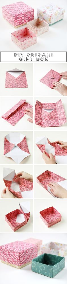 We& always wanted to build origami shapes, but it looked too hard to learn. Turns out we were wrong, we found these awesome origami tutorials that would allow any beginner to start building origami shapes. Origami Diy, Origami Gift Box, Origami Tutorial, Oragami, Origami Bookmark, Paper Box Tutorial, Simple Origami, Origami Paper Folding, Origami Envelope