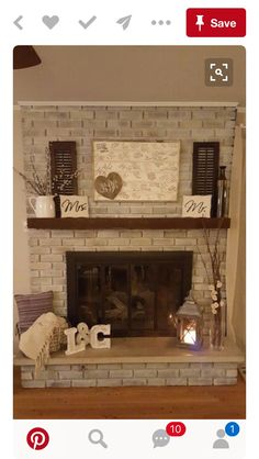 50 Beautiful Rustic Home Decor Project Ideas You Can Easily DIY White wash firep. - 50 Beautiful Rustic Home Decor Project Ideas You Can Easily DIY White wash fireplace decor - Home Living Room, Living Room Decor, Dining Room, Apartment Living, White Wash Fireplace, Ideas Hogar, Home And Deco, My New Room, Home Projects