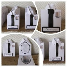 Et ras med konfirmasjons-bestillinger. Jw Gifts, Masculine Birthday Cards, Fathers Day Crafts, 50th Birthday, Event Decor, Diy And Crafts, Table Settings, Party, Projects