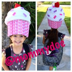 """Cupcake Hat, for Crazy Hat Day! Bummed I didn't take any progress pictures, but this was started with a 99cent store fedora! Hat wrapped in duck tape to keep shape. Bubble wrapped hat. You can use any foam type material. The cupcake liner is scrapbook paper, and the """"frosting"""" is batting. Felt was used for sprinkles and cherry. Used a thin elastic band to secure while wearing it. Voila! Easy peasy, and super cute!"""
