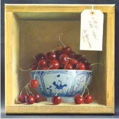 trompe l´oeil bowl of cherries in a cubby