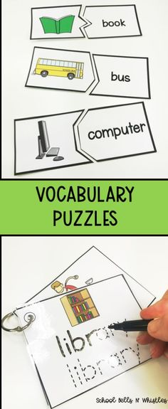 Self-correcting vocabulary puzzles. Ideal for the special education classroom. 52 words. Includes puzzle pieces, recording sheets, and   tracing cards.