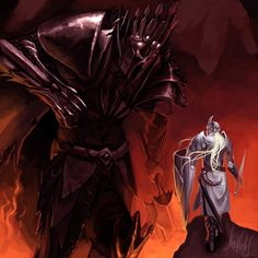My favorite story in the Silmarillion: Fingolfin against Morgoth. (of course I prefer the one by John Howe, but I just totally dig how the artist rendered FIngolfin's stand to look so defiant, showing that he might actually beat this god)