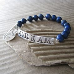 Dream, Fine Silver PMC Link and Moon Charm with Sterling and Lapis Bracelet, Artisan Jewelry