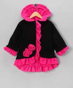 Take a look at this Black & Watermelon Anne-Marie Coat - Toddler & Girls by Corky & Company on #zulily today!