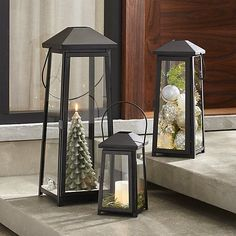 Petaluma Black Metal Lanterns | Crate and Barrel