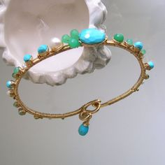 Turquoise Wire Wrapped Gold Filled Bangle, Chrysoprase Pearl Classic, Bracelet, Stackable, Green, Blue, Summer, Original Design, Signature